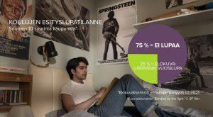 Elokuvien esittäminen kouluissa jopa 75 prosenttia ilman elokuvalisenssiä